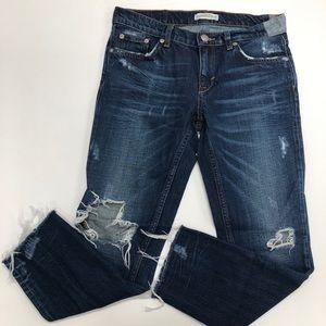 Zara Busted Knee Distressed Raw Hem Jeans Sz 2